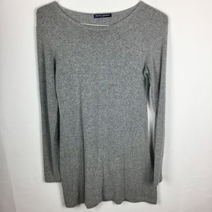 Brandy Melville Women's Fuzzy Gray LS Tunic Top